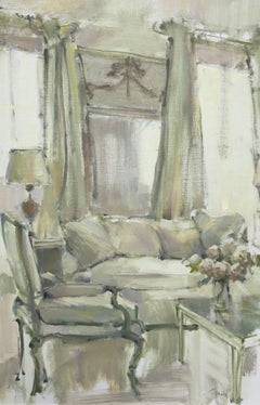 'Pale and Chic' Large Impressionist Oil on Linen Board Interior Painting
