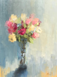 'Bright Bouquet' Large Impressionist Oil on Canvas Floral Painting