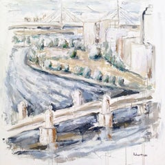 """""""River Charles, Boston"""" Large Impressionist Mixed Media on Canvas Painting"""