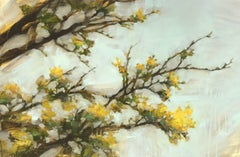 'Then as Now', Oil on Board Horizontal Painting Depicting a Yellow Blooming Tree