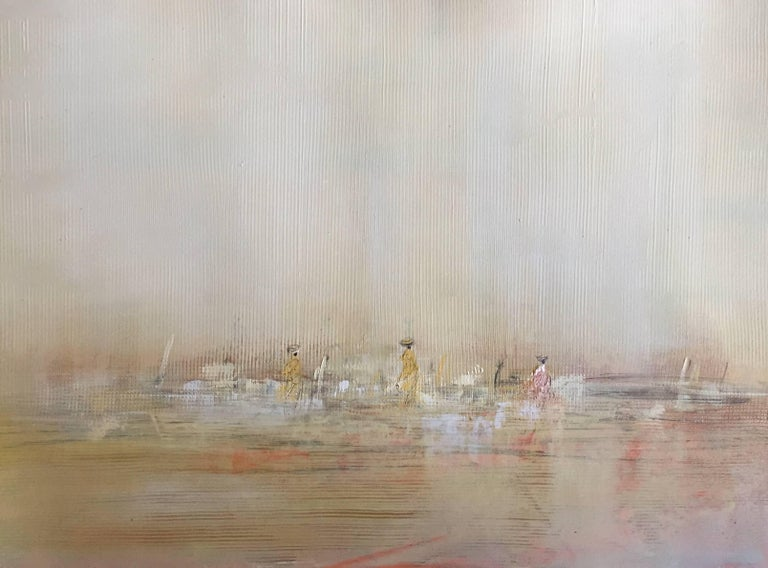 Pascal Bouterin Abstract Painting - 'Horizon', Small Size Oil on Paper Framed Abstract Impressionist Painting