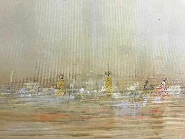 'Horizon', Small Size Oil on Paper Framed Abstract Impressionist Painting - Gray Abstract Painting by Pascal Bouterin
