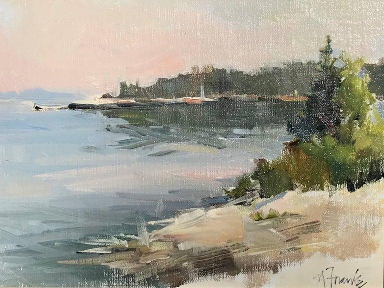Nancy Franke - 'Sparkling Morning in Maine', Oil on Linen Board Giltwood Framed Painting 1
