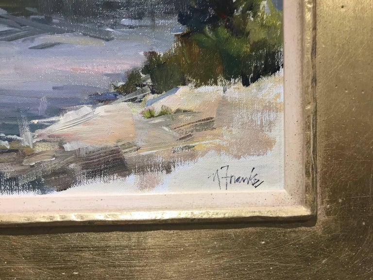 'Sparkling Morning in Maine', Oil on Linen Board Giltwood Framed Painting For Sale 3