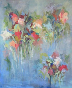'Anticipating the Party' Large Vertical Abstract Floral on Canvas