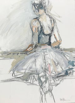'Barre 2' Medium Size Acrylic on Canvas Figurative Painting in Vertical Format
