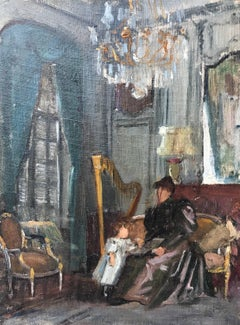'Cours de Musique' Small Impressionist Interior Painting with Harp