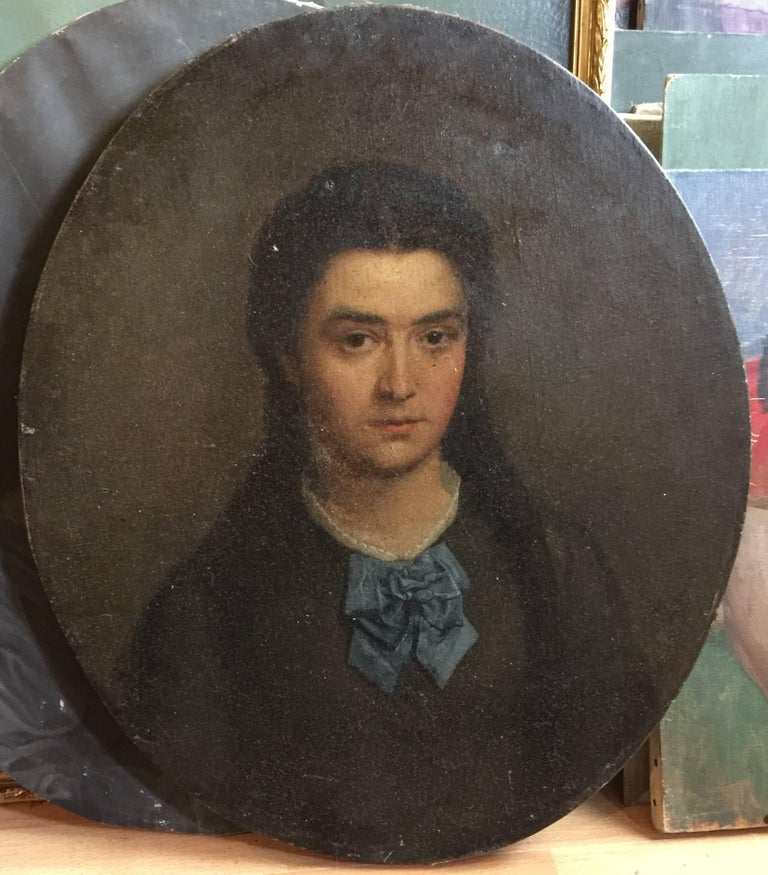 'Oval Portrait' Vintage Late 19th Century French Portrait Painting