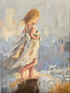 'Easy Days', Small Vertical Impressionist Figurative Oil on Canvas Painting