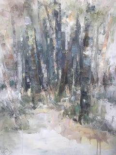 'Identity', Large Vertical Abstract Impressionist Oil on Canvas Painting