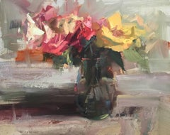 'A Little Variety II' Floral Impressionist Oil on Board Painting of Small Format