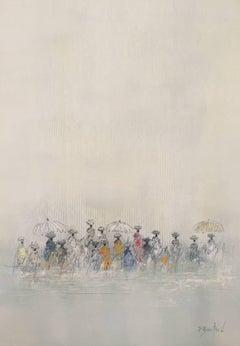 'Méditerranée', Medium Size Impressionist Oil on Paper Beach Scene Painting