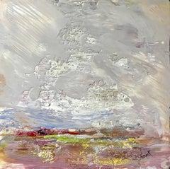 'Wind Swept', Petite Impressionist Encaustic on Board Landscape Painting