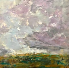 'Blowing Away', Abstract Impressionist Encaustic on Board Landscape Painting