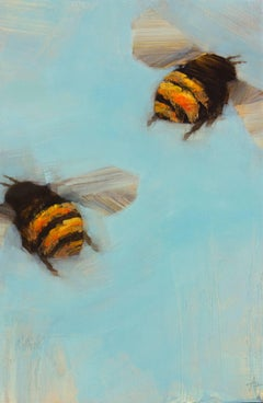 'Bees 1-20', Oil on Board Painting Depicting Bees on Blue Background
