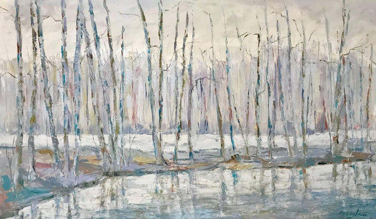 American artist Maureen Naughton created this large framed Impressionist oil on canvas painting in 2018 and titled it 'Reflect on This'. Framed in a horizontal format, this landscape painting features a series of majestic trees, whose slender