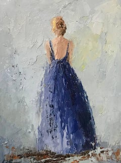 Geri Eubanks - 'Marion', Petite American Impressionist Painting Depicting a Lady in a Blue Gown