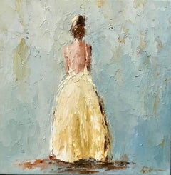 'Eva', Small Size Framed Impressionist Painting Depicting a Lady in Yellow Gown