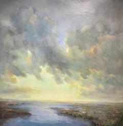 'Ascension', Large Post-Impressionist Landscape Square Oil on Linen Painting