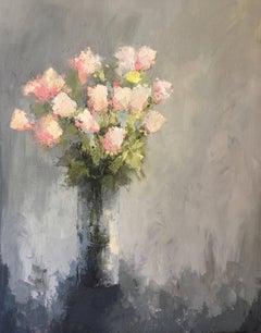 Angela Nesbit - 'Buff Beauties', Large Framed Floral Impressionist Oil on Canvas Painting