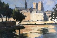 """Deux Iles I"" Small Post-Impressionist Parisian Painting"