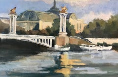 """Toward the Grand Palais"" Small Post-Impressionist Parisian Painting"