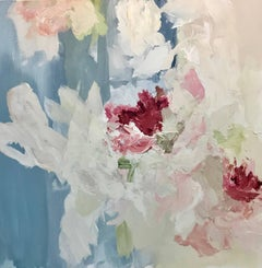 """Joyful Sing"" Medium Square Abstract Floral Painting"