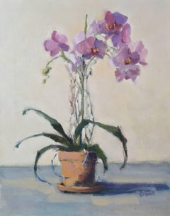 'In the Pink', Post-Impressionist Oil on Linen Still Life Floral Painting