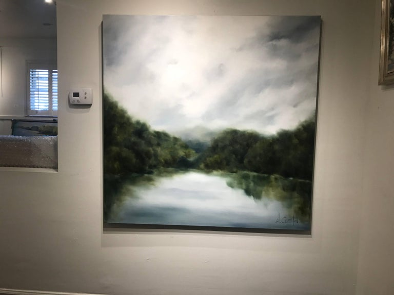 """""""Foggy Mountain 2"""" Large Square Landscape Painting For Sale 2"""