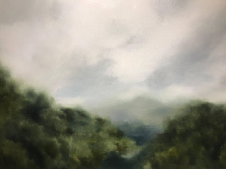 """""""Foggy Mountain 2"""" Large Square Landscape Painting For Sale 5"""
