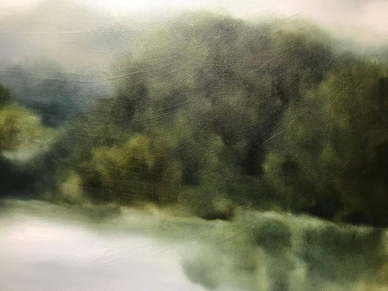 """""""Foggy Mountain 2"""" Large Square Landscape Painting For Sale 4"""