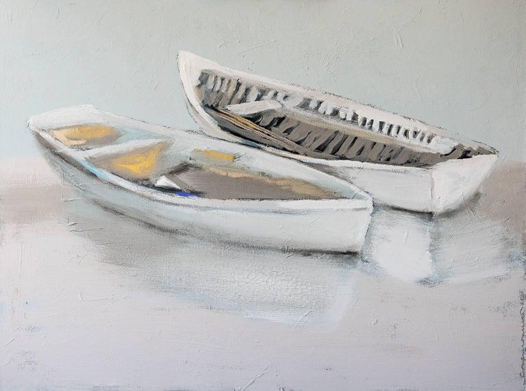 """Carylon Killebrew Landscape Painting - """"Wrapped Around You"""" Large Horizontal Boat Painting"""