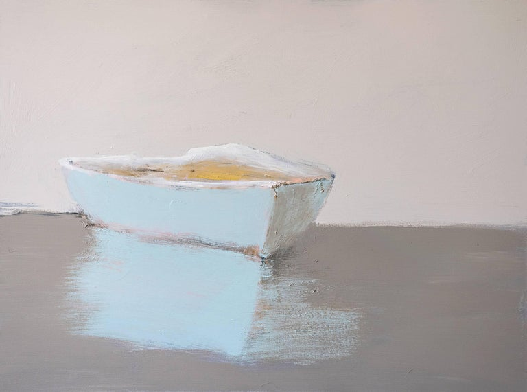 """""""Final Song,"""" medium horizontal boat painting"""