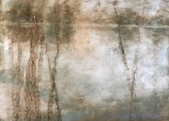 """""""The Turning Point"""" Large Horizontal Contemporary Landscape Painting on Board"""