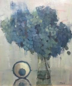 """Still Waiting"" Large Impressionist Hydrangea Painting"