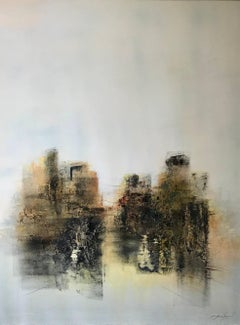 """""""Architectures"""" Small Framed Abstract French Landscape Painting"""