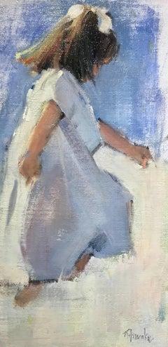 """""""My Girl"""" Small Vertical Framed Painting of Little Girl"""