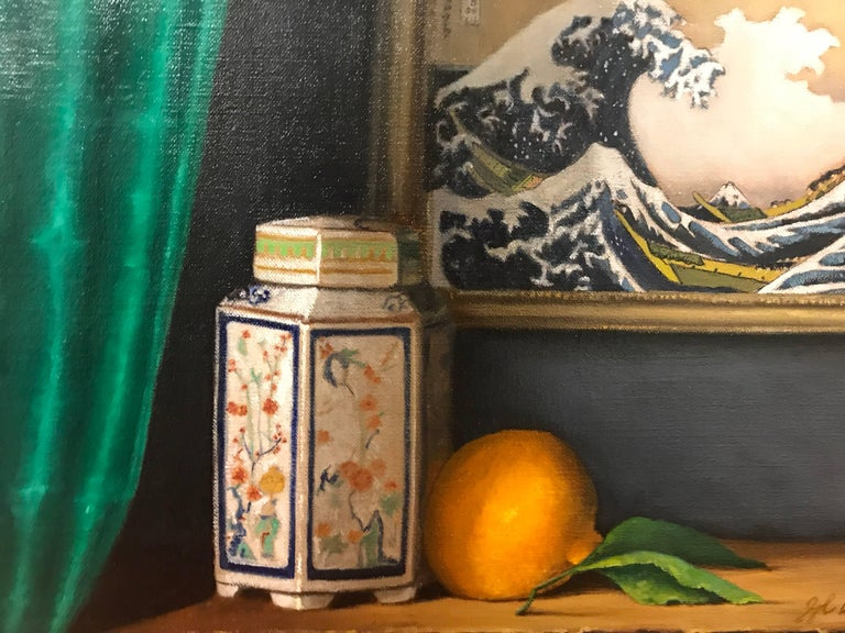 "Ginny Williams Still-Life Painting - ""Marco Polo"" Small Still Life Painting"
