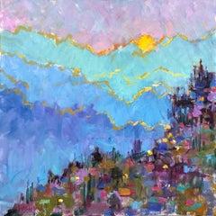 Bonnieux, Medium Size Square Oil on Canvas Post-Impressionist Painting