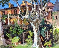 Le Grand Platane, Post-Impressionist Horizontal Oil on Canvas Landscape Painting