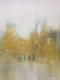Sur le Boulevard, Framed Oil on Board Abstract Impressionist Painting