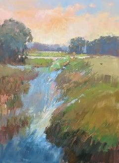 Subtle Serenade, Vertical Framed Impressionist Plein Air Landscape Painting