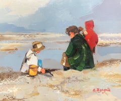 Watchful Rest, Impressionist French Beach Scene, Oil on Canvas Painting