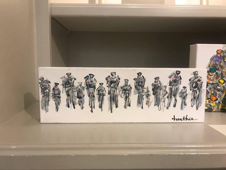 Cyclists I, Horizontal Contemporary Mixed Media on Canvas Sports Painting - Gray Figurative Painting by Heather Blanton