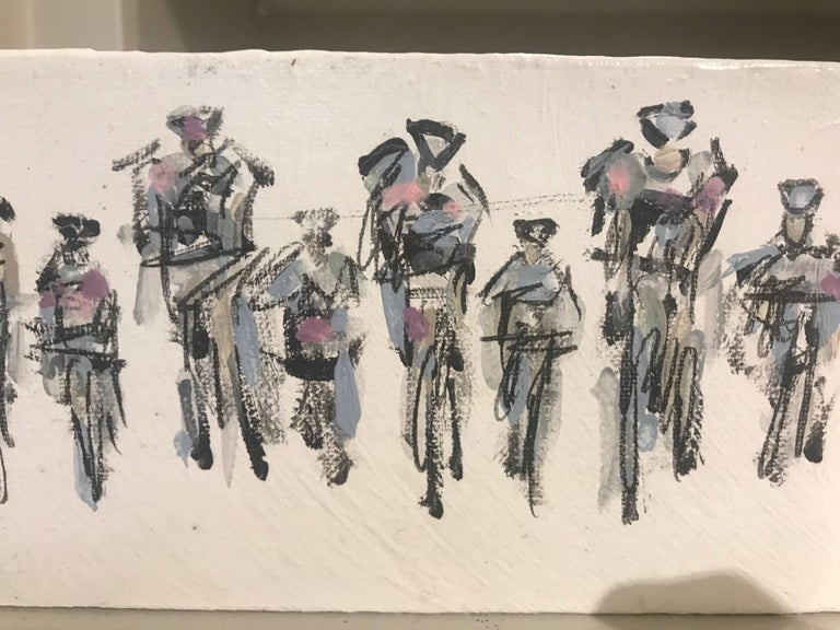 Cyclists I, Horizontal Contemporary Mixed Media on Canvas Sports Painting For Sale 1
