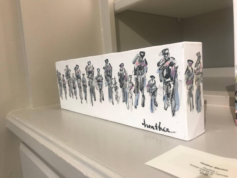 Cyclists I, Horizontal Contemporary Mixed Media on Canvas Sports Painting For Sale 2