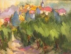 Village du Vignoble, Petite Oil on Linen Board Provence Landscape Painting