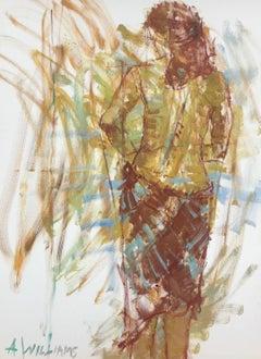 Après le Bain, Large Framed Vertical Oil on Canvas Figurative Painting