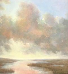 Elevation, Vertical Post-Impressionist Landscape Oil on Canvas Painting