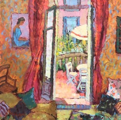 Une Postcard of Coco's Terrace, Post-Impressionist Oil on Canvas Painting